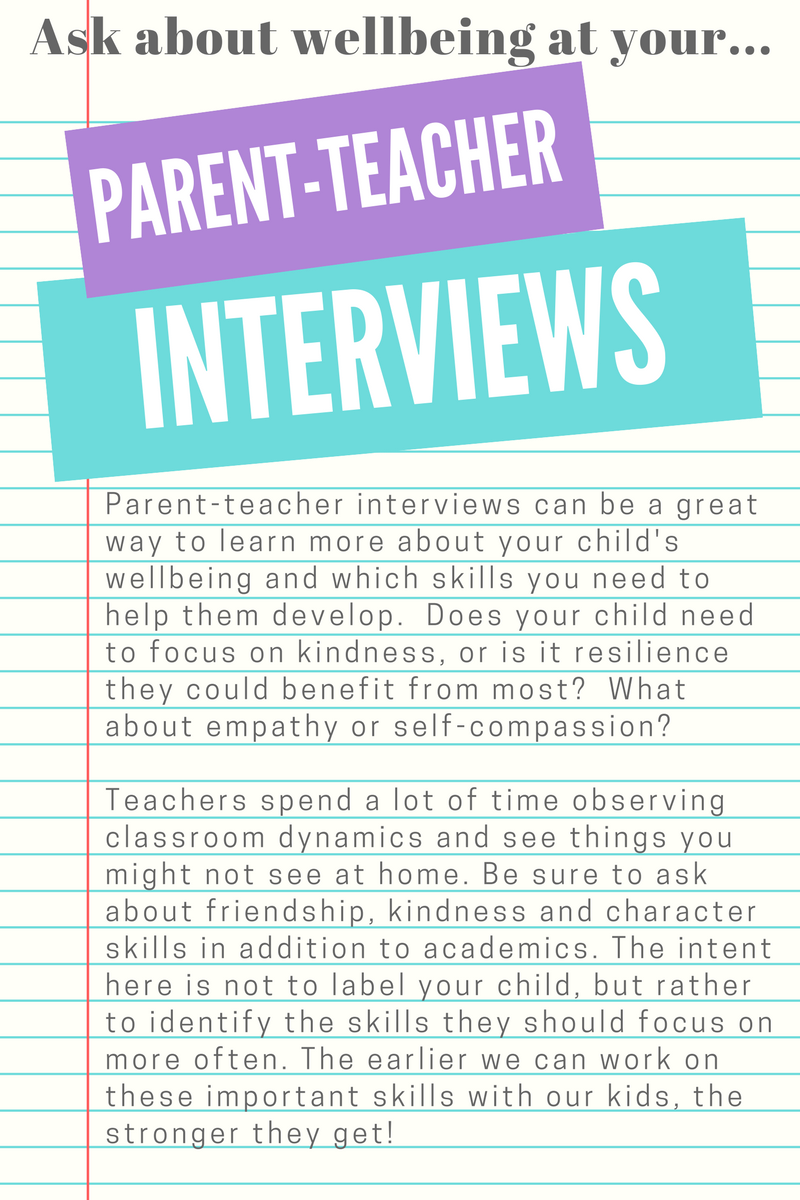 Ask about wellbeing at your parent-teacher interviews