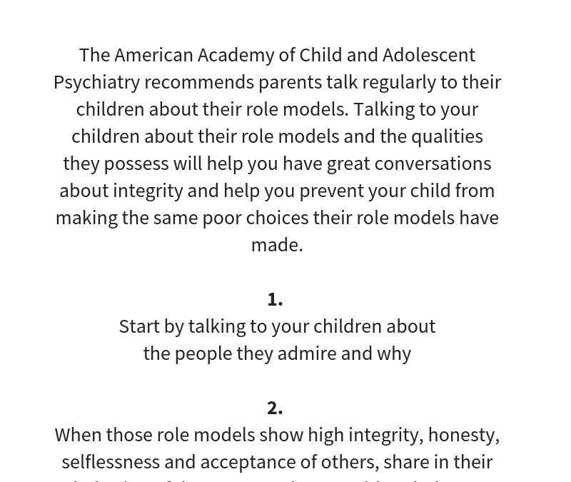 How to … talk to your kids about their role models